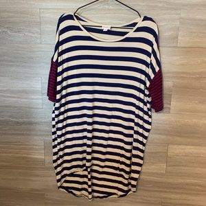 Lularoe Striped Irma Tunic Top Size M Red Blue